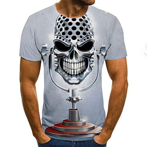Schedel Unisex T Shirt Zomer 3D Gedrukt Korte Mouw Zilver Microfoon Gepersonaliseerde Lelijke Tops Tees voor Strand Vakantie