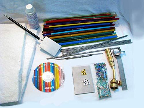 Devardi Glass Lampworking, Blowing, Beadmaking COE 104 Beginner Starter Kit - Intermediate