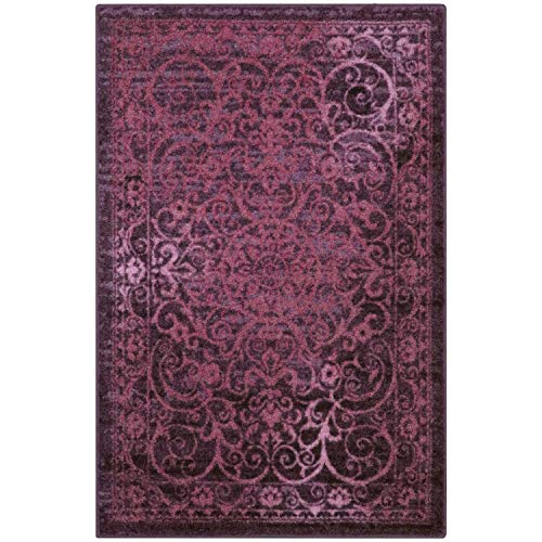 Maples Rugs Pelham Vintage Area Rugs for Living Room & Bedroom [Made in USA], 7 x 10, Wineberry Red