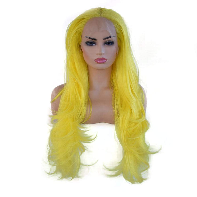 BOBIDYEE 黄色の女性の長い巻き毛のフロントレースの化学繊維かつらコスプレウィッグ合成髪のレースのかつらロールプレイングかつら (色 : イエロー)