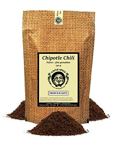 Uncle Spice Chipotle Chili Pulver - 150g CHIPOTLE Chilis gemahlen in Premiumqualität, mittelscharfe gemahlene Chilischoten, würzig-rauchiger Genuss, Jalapeno Chili geräuchert