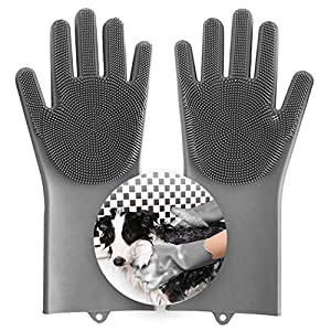 Aufew Magic Pet Grooming Gloves Dog Bathing Shampoo Brush, Heat Resistant Eco-Friendly Silicone Hair Removal Gloves with High Density Teeth for Cats, Dogs