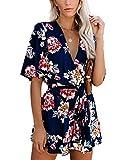 Relipop Women's Jumpsuit Floral Print V Neck Flared Half Sleeve Elastic Tie Waist Ruffle Hem Romper Dark Blue