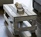 Del Hutson Designs Landmark Pine Natural Solid Wood Farmhouse Living Room Coffee or End Table (Coffee Table, Grey)