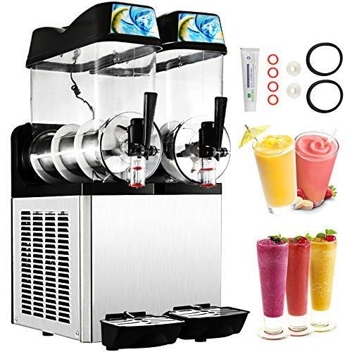 Happybuy 110V Commercial Slushy Machine 400W 12L x 2 Tank Stainless Steel Margarita Smoothie Frozen Drink Maker Perfect for Ice Juice Tea Coffee Making 24L Sliver