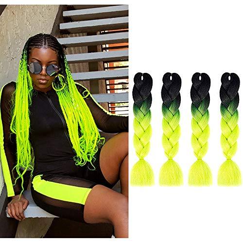 MYCHANSON 4pcs/Lot Synthetic Black Yellow Green Jumbo Braiding Hair Three-tone Colors 24inch Crochet ombre Braids Hair Extensions (Black-Yellow-Green)