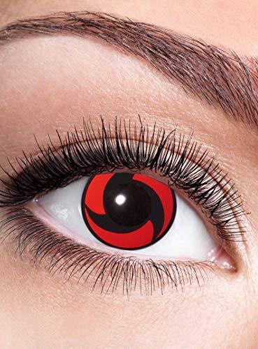 Itachis Mangekyou Sharingan Kontaktlinse mit Dioptrien - farbige Motivlinse mit Sehstärke - Dioptrien: -1,5 - ideal für Halloween, Karneval, Motto-Party