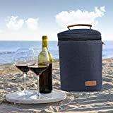 Wine Carrier Tote - Samshow 4 Bottle Wine Carrier with Shoulder Strap, Padded Protection, and Corkscrew for Travel, Camping