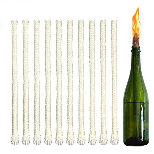 20 szt. knot do pochodni Tiki 5 mm okrągła lampa olejowa knot, czysta bawełna bezdymny czas palenia, świeca knot do lamp olejnych i świec DIY ręcznie robione materiały do produkcji świec