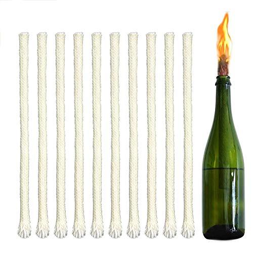 Sprießen 20 stoppini per lampade ad Olio 5mm Stoppini per Bottiglie di Vino, Tempo di combustione Senza Fumo Lungo, stoppini Candele Fai da Te(17cm)