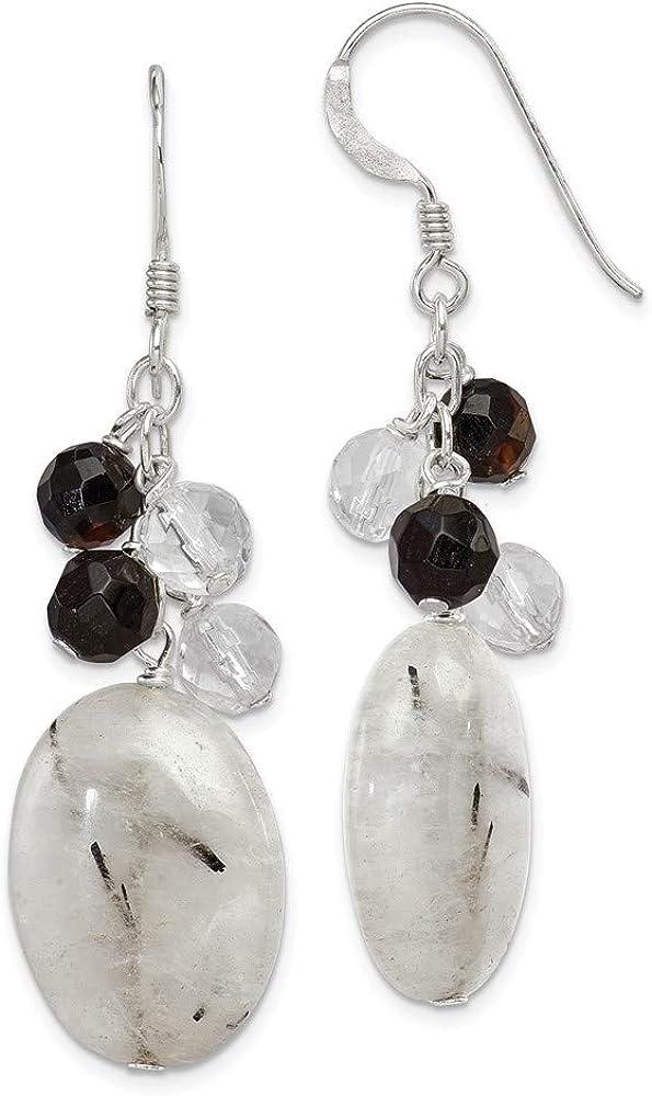 Earrings White Sterling Silver Drop Dangle Women'S Agate Black Overseas parallel import regular item Award