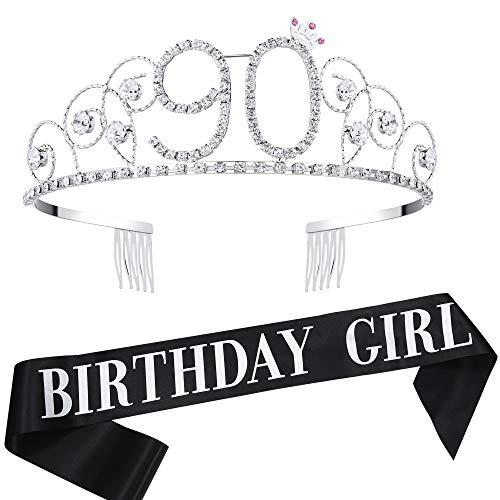 Coucoland Geburtstag Krone mit Geburtstag Schärpe Satin Birthday Crown and Sash Set Geburtstagsdeko Geschenk für Damen Geburtstag Party Accessoires (90 Jahre alt - Silber)