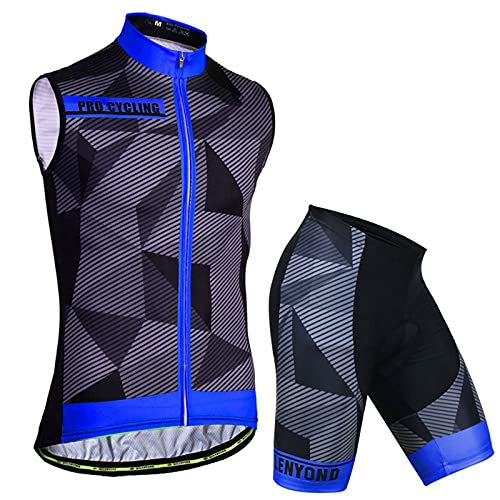 WPW Maglia da Ciclismo Senza Maniche Camicie da Bici da Uomo Gilet Abbigliamento da Bicicletta Giacca da Bici da Strada MTB Tight (Color : E, Taglia : Small)