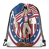 Borse Bapa con coulisse Borsa sportiva da palestra Borsa da viaggio per donna Uomo Bambini, American Pat Emblem Cartoon Style Fourth Of July Design Country History