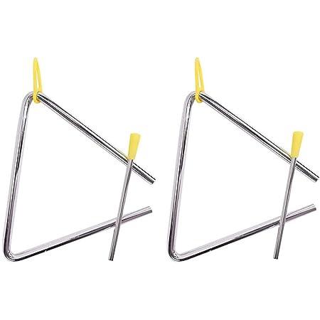 Triángulo Musical,2 Pack Instrumento Triángulo Music Triángulo de 6 Pulgadas Ritmo Educativo Triángulo Percusión de Acero TRI-6 con Batidor para Niños Talleres de Escuela Adulto
