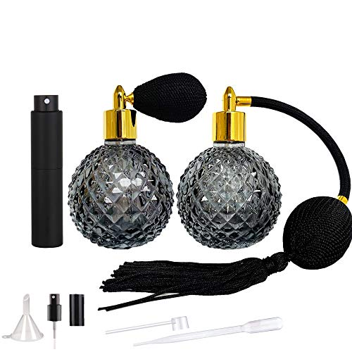 Vintage Perfume Bottles Set of 3 Classic Sprayer with Air Bulb, Vintage Refillable Perfume Atomizer Spray Bottle,Professional Great for bartender Home Bar, SC034 (Black)