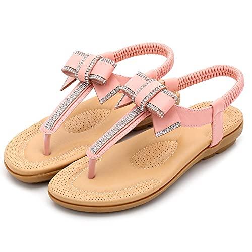 KovBexJa Verano Bowknot Sandalias De Mujer Bohemia Diamante De Imitación 2.5 cm Suela De Goma Tacón Plano Playa Zapatos De Mujer Rosa