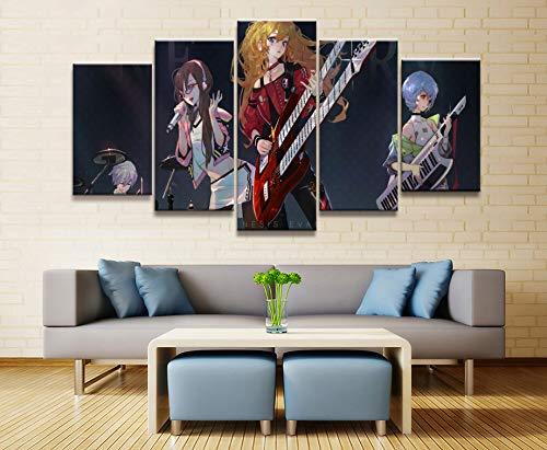 aicedu 5 Stuk Neon Genesis Evangelion Eva Band Anime Poster Muur Foto 'S Voor Home Decor Poster Kunstwerk Muurdecoratie Doek (Geen Frame)