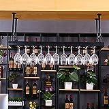GJBJ-Wine Racks Cubilete Portavasos Suspensión Copa de Vino Estante Estante Colgante de Hierro Titular de Rack Techo Decoración Bar (Color : Negro, tamaño : 100 * 35cm)