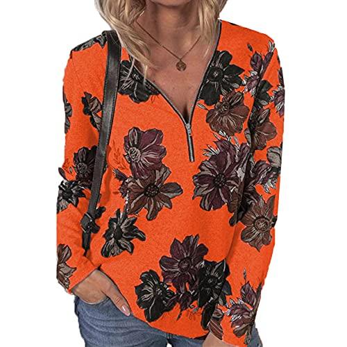 OtoñO E Invierno, Jersey con Cremallera para Mujer, Estampado De Manga Larga, Camiseta Suelta, Camiseta para Mujer