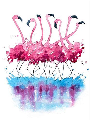 SDFSD Cartoon Elch Hirsch Flamingo Vogel Geweih Blumenmuster Tiermalerei Kinderzimmer Home Decor Poster Wandkunst Leinwand Malerei 90 * 120cm