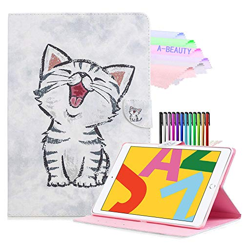 A-BEAUTY Case Fit New iPad 7th Generation 10.2' 2019 / iPad 10.2 Case - [Auto Sleep/Wake] Slim Lightweight Smart Shell Stand Cover with Free Pen, Cute Cat