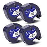 Fentec 4x Reemplazo de Cinta de Etiquetas Compatible para Dymo LetraTag Cinta de Papel 91200 91220 S0721510 para Dymo LetraTag LT-100H LT-100T LT-110T QX-50 XR XM 2000, 12mm x 4m Negro sobre Blanco