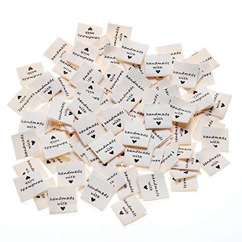 VINFUTUR 100pcs Etiquetas Handmade con Corazón Etiquetas Personalizadas de Tela Etiquetas Hechas a Mano para Ropa Artesanía de Costura Tejido DIY Decoraciones
