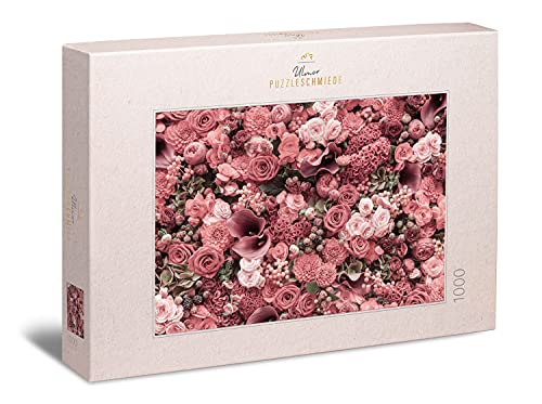 """Ulmer Puzzleschmiede - Rosen-Puzzle """"Rouge"""" – Klassisches 1000 Teile Blumen-und -Blüten-Puzzle ganz in rot – das Puzzlemotiv für alle, die rote Rosen lieben und schwierige Puzzles Nicht scheuen"""