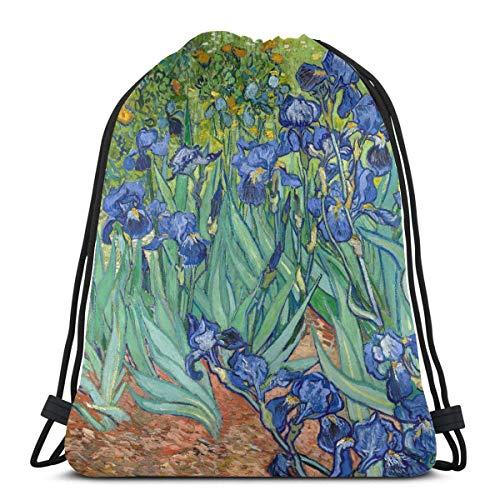 Vincent Van Gogh pintando Lirios Que Crecen en una Mochila de Cuerda de Camping Gard para Mujer