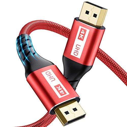 Displayport Kabel, Yurnero 4K DP Kabel,Unterstützung(4K@60Hz,2K@144Hz,2K@165Hz,3D),Kompatibel mit FreeSync und G-Sync,DP Zu DP Kabel für Gaming Monitor/PC/TV/Beamer/Monitor/Grafikkarten (2M-Red)