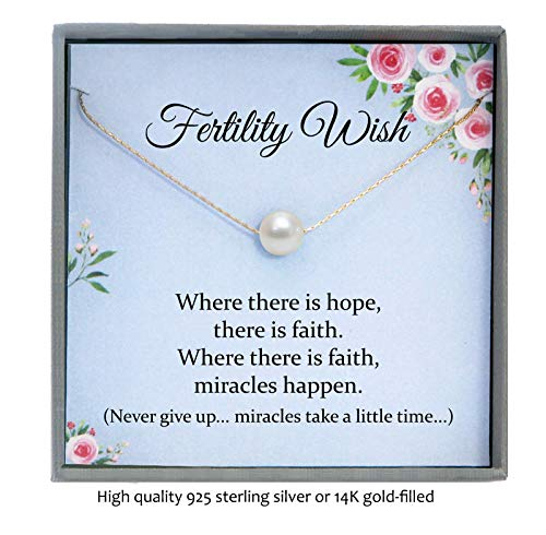 Fertility Necklace for Women, IVF Gifts for Women, Infertility Gifts for Women, IUI Gifts, Floating Pearl Necklace with Meaningful Message