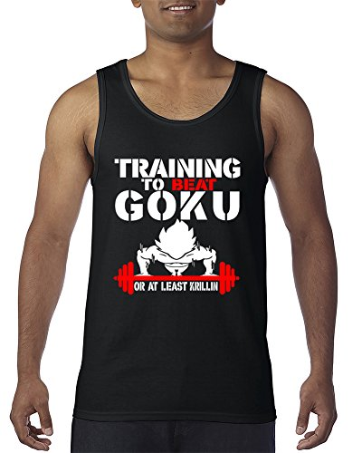 Training to Beat Goku or at Least Krillin Funny Fitness Gym Men s Tank Top Black