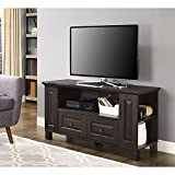 Walker Edison Furniture Company Traditional Wood Universal Stand with Storage Drawers for TV's up to 50' Flat Screen Living Room Entertainment Center, 44 Inch, Espresso Brown