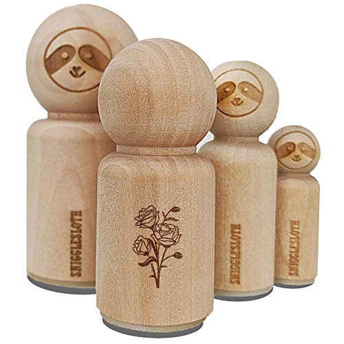 Bundle of Wild Roses Rubber Stamp for Stamping Crafting Planners - 3/4 Inch Small