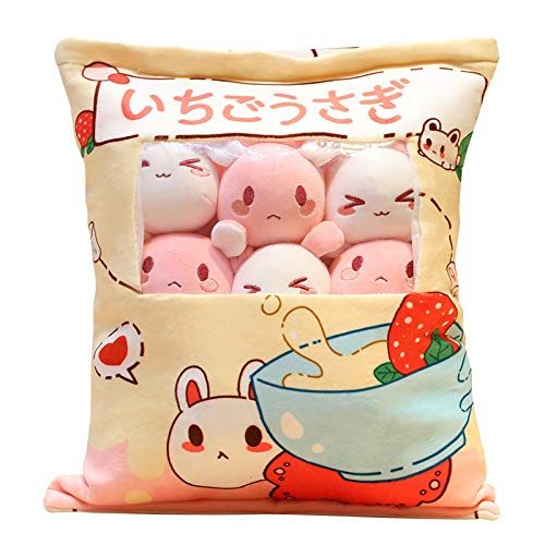 Cute Plush Pillow Throw Pillow Removable Stuffed Animal Toys Creative Gifts for Girls, Plush Cotton Stuffed Animals Pillow for Kids, Sofa Chair Decorative Pillow