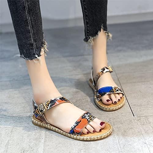 QooDiDo Moda Donna Sandali Estivi Fibbia Solid Shoes Flats Casual Open Toe Beach Ladies Plus Size Serpentino
