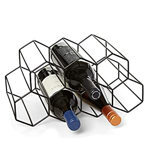 Countertop Wine Rack – 9 Bottle Wine Holder for Wine Storage – No Assembly Required – Modern Black Metal Wine Rack…