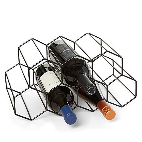 Countertop Wine Rack - 9 Bottle Wine Holder for Wine Storage - No Assembly Required - Modern Black Metal Wine Rack - Wine Racks Countertop - Small Wine Rack - Wine Bottle Storage - Tabletop Wine Rack