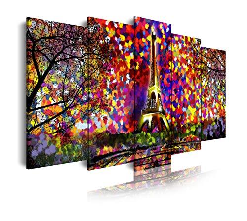 DekoArte - Cuadros Modernos Impresión de Imagen Artística Digitalizada | Lienzo Decorativo Para Tu Salón o Dormitorio | Estilo Abstractos Arte Impresionismo París Leonid Afremov | 5 Piezas 150 x 80 cm