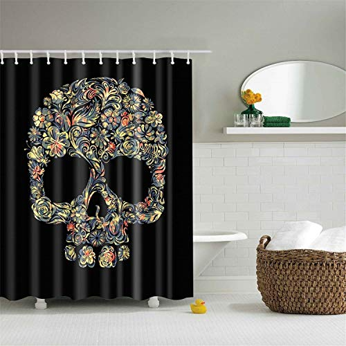 N / A Effrayant crâne rouillé Halloween 3D Rideau imperméable Polyester Salle de Bain Rideaux occultants Salle de Bain cornée imperméable et Anti-moisissure Rideau de Douche A12 90x180cm