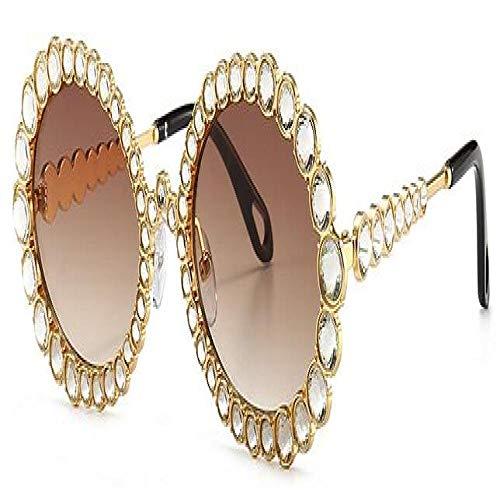 Occhiali da Sole Sunglass Occhiali da Sole con Strass Designer Grandi Occhiali da Sole Ovali Donna Montatura in Cristallo Fashion ShadesUv400 Goldtea