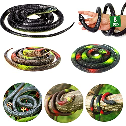 OLJHFG 8 Pcs Realistic Large Rubber Snakes Fake Snakes Toy That Look Real Black Mamba Snake for Garden Props to Scare Birds Squirrels and Prank Stuff Halloween Decor 52 Inches and 32 Inches