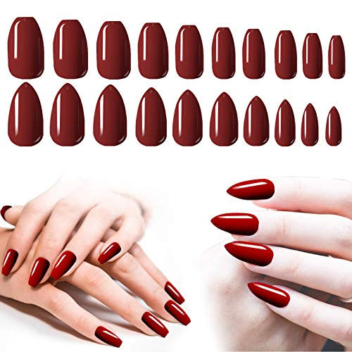 Short Burgundy Acrylic Nails, 200PCS Cosics Glossy Press On Nails Ballerina Coffin Shape & Stiletto Almond False Gel Nail Tips Set, 10 Sizes Full Coverage Artificial Fake Nails for Nail Art, Salon