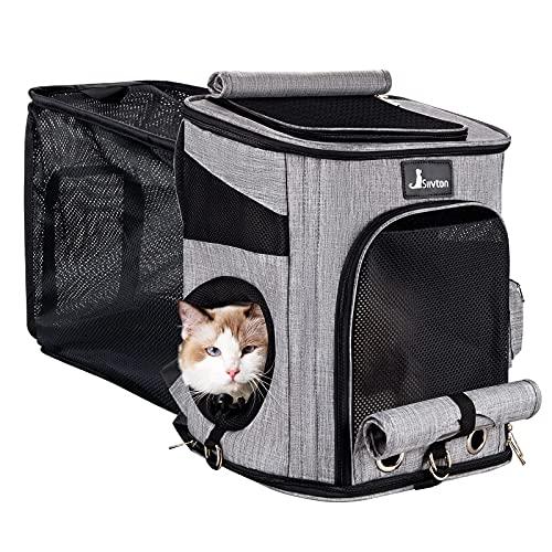 """Rucksack für Katzen Hunde, Siivton Erweiterbar Rucksäcke für kleine mittlere Tiere mit Front Top-Öffnung, interaktives Loch, zusätzliche Bodenstütze, 16.5""""H*13""""L*10.8""""W(bis zu 12kg) Grau"""
