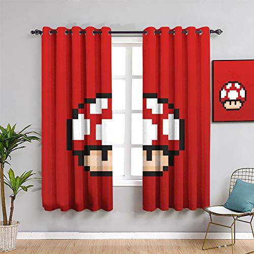 Mario Bros - Cortina impermeable para ventanas (42 x 63 cm), diseño de setas, color rojo