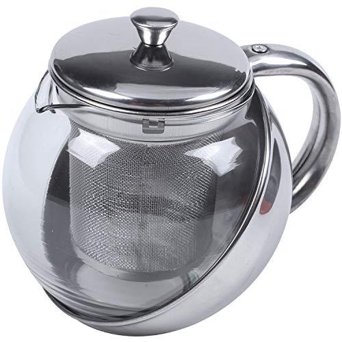 Suading Tetera Moderna de te de Acero Inoxidable y Cara de Cristal + Infusor de Hoja de te de 500ml