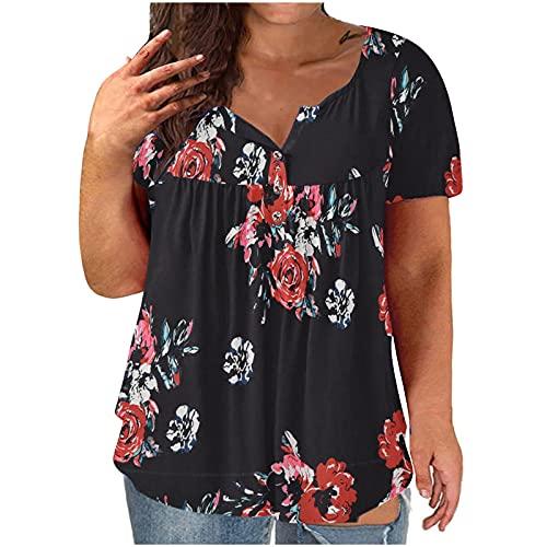AMhomely Camisas y blusas para mujer, tallas grandes, cuello en V, estampado de flores, botón de manga corta, blusa para oficina, tamaño Reino Unido, envío 7 días