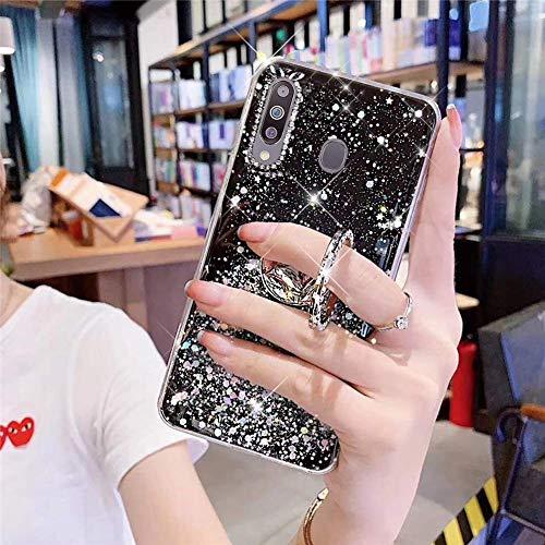 Herbests Kompatibel mit Samsung Galaxy M30 Hülle Mädchen Bling Diamant Glänzend Glitzer Stern Schutzhülle Ultra Dünn Weich Silikon Durchsichtig Handyhülle Case mit Ring Ständer Halter,Schwarz