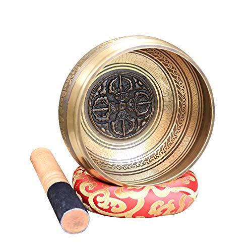 4.3/4.9 Inch Cuenco Tibetano Hecho a Mano Kit , Juego De Cuencos Tibetanos con Cojín De Seda y la Baqueta, Cuencos Tibetanos para Meditación, La Curación De Chakras, Relajación, Yoga, Estrés Alivio